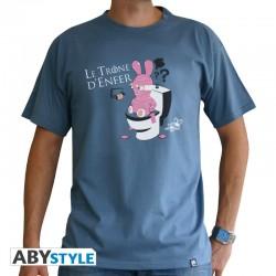 "t-shirt lapins crétins Trône"" homme MC stone blue"