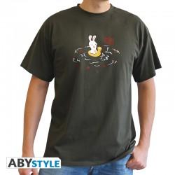 t-shirt lapins crétins Piranha homme MC kaki