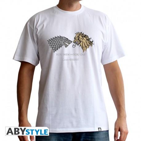 t-shirt game of thrones :Lan. VS Stark homme MC white