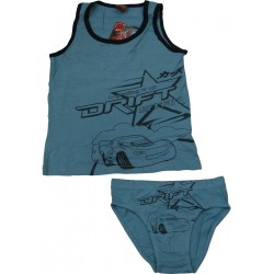 ensemble tshirt+slip cars bleu (2-8 ans)