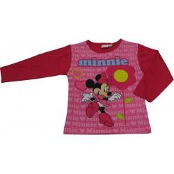 t-shirt minnie manche longue cintré fuchsia (2 à 6 ans)