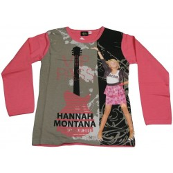 t-shirt hannah montana manche longue rose (8-16 ans)