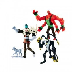 Figurines ben 10 : 3 figurines + 1 chien bandaï