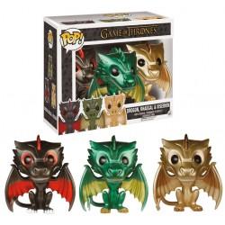 figurines game of thrones Drogon, Rhaegal & Viserion Metallic 9 cm