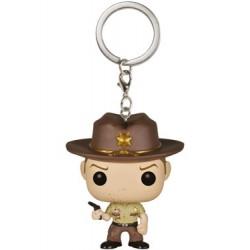 The Walking Dead POP! Vinyl porte-clés Rick Grimes Blood Spatter 4 cm