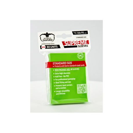 Ultimate Guard 80 pochettes Supreme Sleeves taille standard Vert Clair