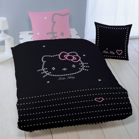 parure de lit hello kitty diamonds adulte 200 x 200 cm la boutique des vrais fans. Black Bedroom Furniture Sets. Home Design Ideas