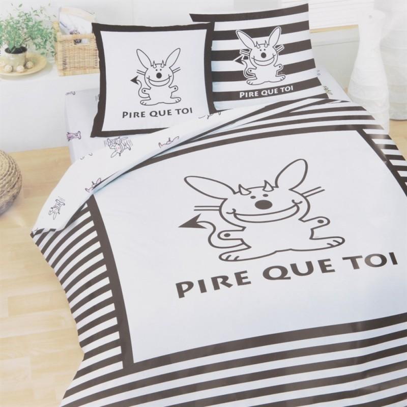 housse de couette happy bunny pire que toi 240 x 220 avec taie. Black Bedroom Furniture Sets. Home Design Ideas